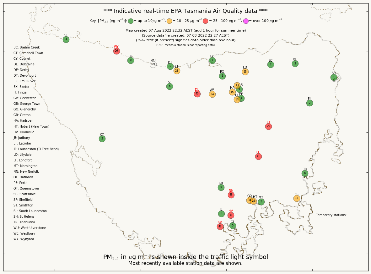 Indicative real-time Tasmanian air Quality data. An alernative accessible version of this information can be access from the link below this map